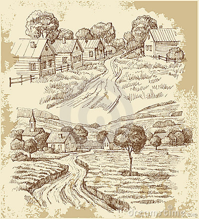 Free Village Houses Sketch With Food Royalty Free Stock Images - 21930889