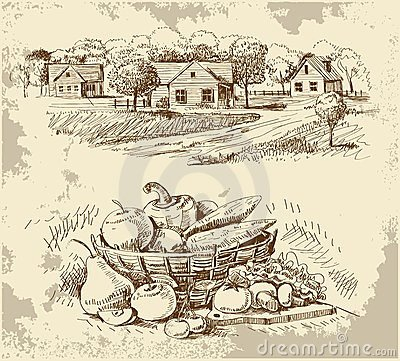 Free Village Houses Sketch With Food Stock Photo - 23597930