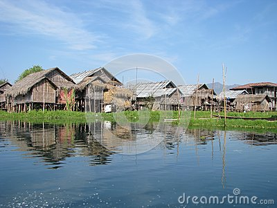 Village huts in the lake