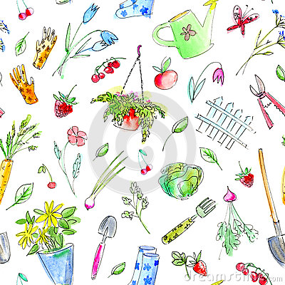 Village image with garden plants and tools seamless pattern. Cartoon Illustration