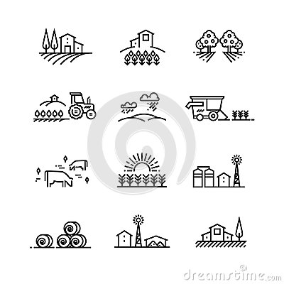 Free Village Line Landscapes With Agricultural Field And Farm Buildings. Linear Farming Vector Concepts Royalty Free Stock Photo - 97592085