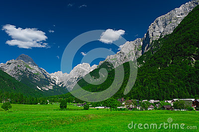 Village and meadow. Log pod Mangartom, Slovenia