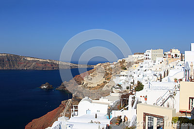 Village Of Oia At Santorini Island In The Cyclades Royalty Free Stock Photo - Image: 24661315
