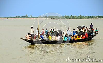 Village passenger boat Editorial Stock Image