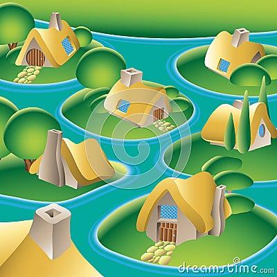 Village on a river