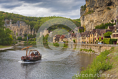 Village of Roc Gageac, Dordogne, France Editorial Stock Photo