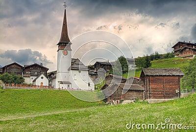 Village settlement in canton Valais  Switzerland
