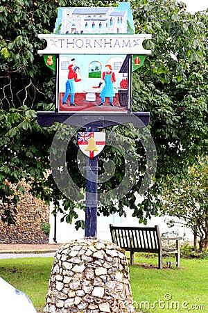 Village sign, Thornham, Norfolk.