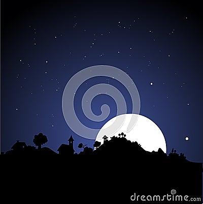 Free Village Skyline At Night Royalty Free Stock Image - 1093566