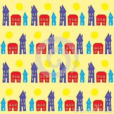 Village, small town at daylight, seamless pattern