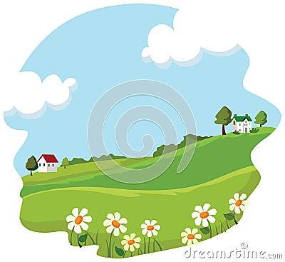 Village summer landscape