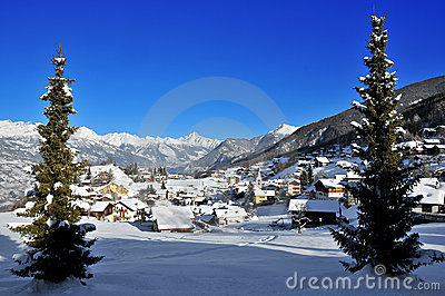 Village in swiss alps framed by pine trees