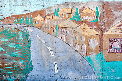 Village on a wall
