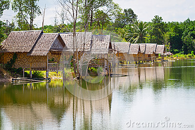 Village at the water in Thailand