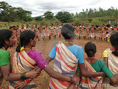 Village women form a circle Editorial Image