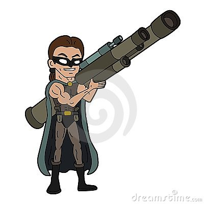 Villain with hi-tech gun cartoon