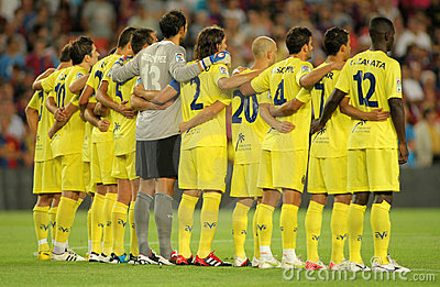 Villarreal team in silence minute Editorial Photography
