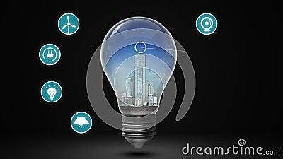 Ville de rendement énergétique dans l'ampoule et la diverse icône économiseuse d'énergie Temps de jour illustration de vecteur