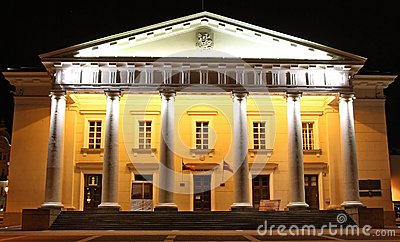 Vilnius city hall at night (Lithuania)