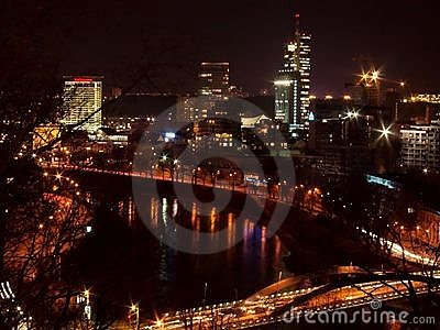 Vilnius city night skyline