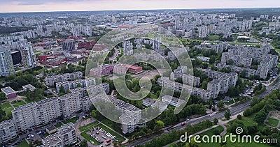 Vilnius cityscape e Fabijoniskes A cidade mais conhecida como Pripete de Chernobyl, na Ucrânia 1 video estoque