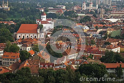 Vilnius cityscape, old town roofs