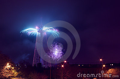 Vilnius tv tower christmas tree sparkling firework
