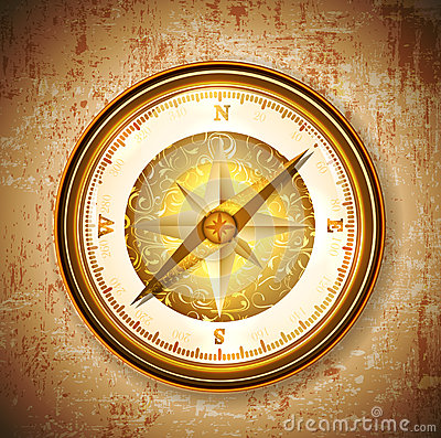 Vinatge antique golden compass