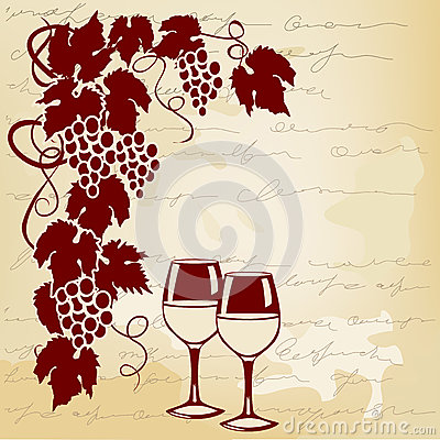 Free Vine And Wine Glasses On A Vintage Background Stock Photos - 51026563