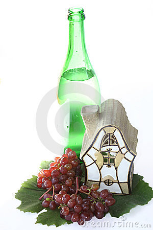 Vine, bottle and house