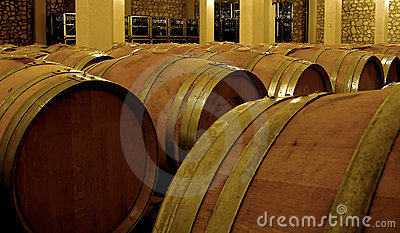 Vine fermentation in oak barrels