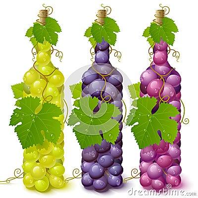 Free Vine Grape Bottles Royalty Free Stock Images - 9352889