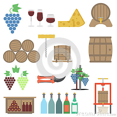 Vine making Flat icon Set Vector Illustration