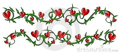 Vine With Valentine Hearts Borders
