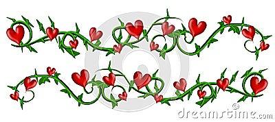 Vine With Valentine Hearts Borders