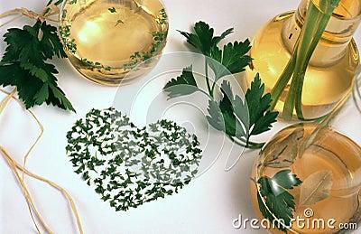 Vinegar, oil and herbs