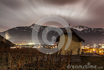 Vineyad and Mountain at night