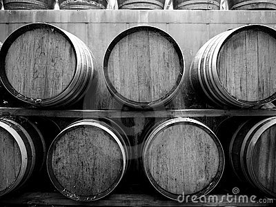Vineyard: wine barrels h