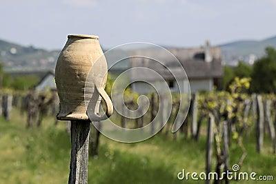 Vineyards and village church at Lake Balaton