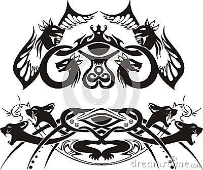 Vinhetas simétricas estilizados com dragões e gatos
