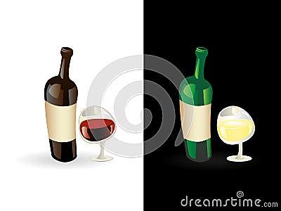 Vinho vermelho e branco