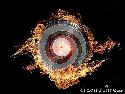Vinilo caliente en el fuego