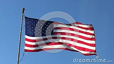 Vinkande CU 2017430 för amerikanska flaggan lager videofilmer