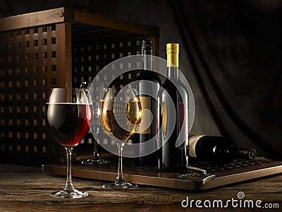 Vino blanco rojo y