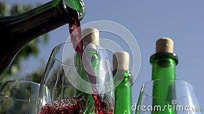 Vino rojo de colada en cubilete almacen de metraje de vídeo