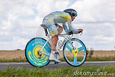 哈萨克人骑自行车者Vinokourov Alexandre 编辑类库存图片