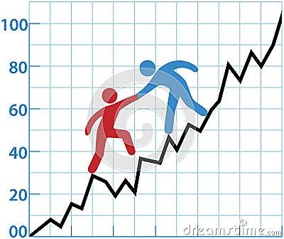 Vinst för person för hjälp för affärsdiagram