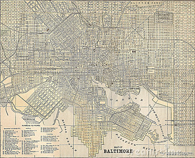 Vintage 1891 map of the city of Baltimore Editorial Photo