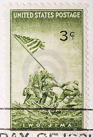 Vintage 1945 Canceled US Postage Stamp Iwo JIma