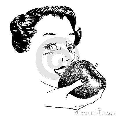 Vintage 1950s Woman Eating Apple